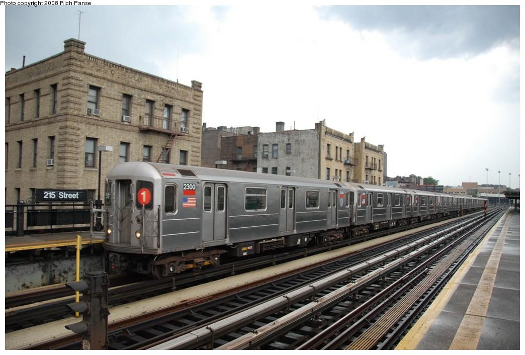 (204k, 1044x706)<br><b>Country:</b> United States<br><b>City:</b> New York<br><b>System:</b> New York City Transit<br><b>Line:</b> IRT West Side Line<br><b>Location:</b> 215th Street <br><b>Route:</b> 1<br><b>Car:</b> R-62A (Bombardier, 1984-1987)  2300 <br><b>Photo by:</b> Richard Panse<br><b>Date:</b> 8/2/2008<br><b>Viewed (this week/total):</b> 1 / 1380