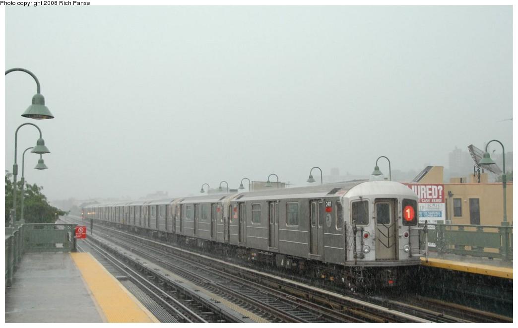 (113k, 1044x661)<br><b>Country:</b> United States<br><b>City:</b> New York<br><b>System:</b> New York City Transit<br><b>Line:</b> IRT West Side Line<br><b>Location:</b> 231st Street <br><b>Route:</b> 1<br><b>Car:</b> R-62A (Bombardier, 1984-1987)  2411 <br><b>Photo by:</b> Richard Panse<br><b>Date:</b> 8/2/2008<br><b>Viewed (this week/total):</b> 0 / 1404