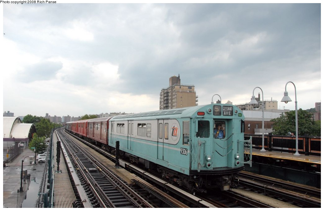 (147k, 1044x680)<br><b>Country:</b> United States<br><b>City:</b> New York<br><b>System:</b> New York City Transit<br><b>Line:</b> IRT West Side Line<br><b>Location:</b> 238th Street <br><b>Route:</b> Transit Museum Nostalgia Train<br><b>Car:</b> R-33 World's Fair (St. Louis, 1963-64) 9306 <br><b>Photo by:</b> Richard Panse<br><b>Date:</b> 8/2/2008<br><b>Viewed (this week/total):</b> 0 / 1259