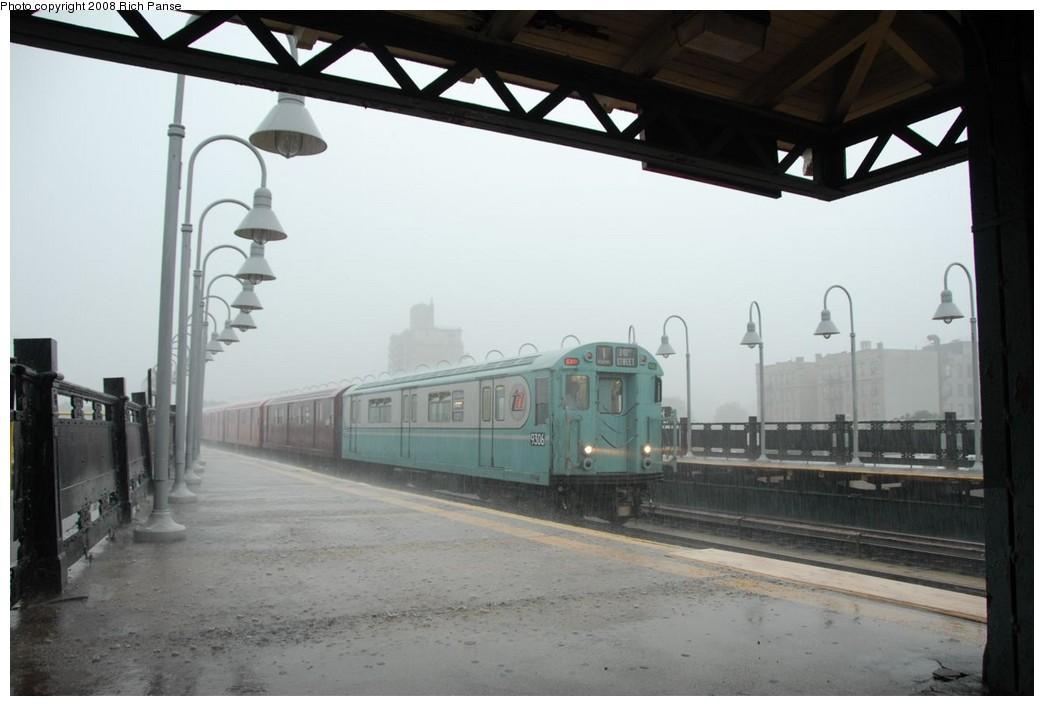 (161k, 1044x706)<br><b>Country:</b> United States<br><b>City:</b> New York<br><b>System:</b> New York City Transit<br><b>Line:</b> IRT West Side Line<br><b>Location:</b> 238th Street <br><b>Route:</b> Transit Museum Nostalgia Train<br><b>Car:</b> R-33 World's Fair (St. Louis, 1963-64) 9306 <br><b>Photo by:</b> Richard Panse<br><b>Date:</b> 8/2/2008<br><b>Viewed (this week/total):</b> 1 / 1704