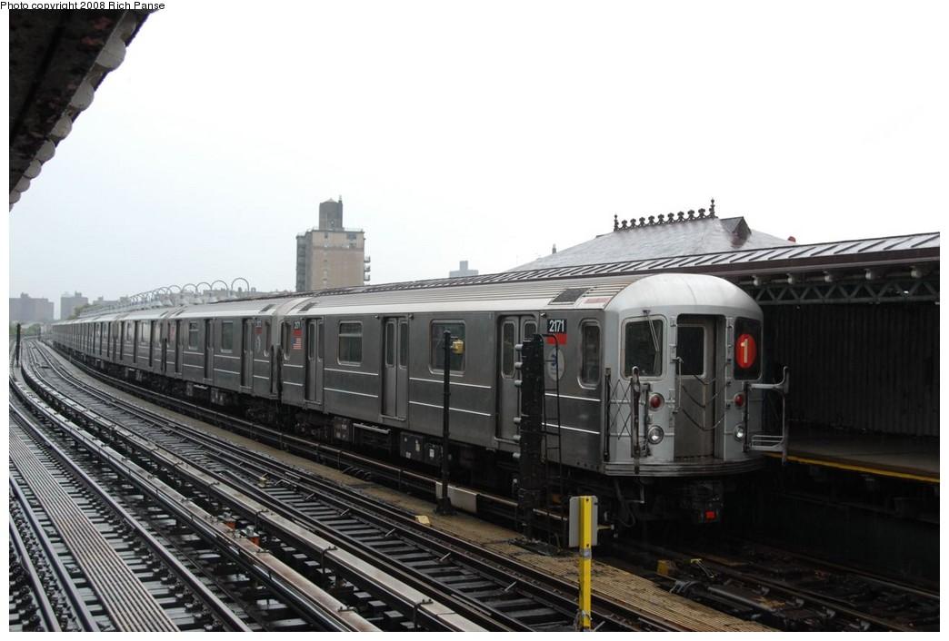 (182k, 1044x706)<br><b>Country:</b> United States<br><b>City:</b> New York<br><b>System:</b> New York City Transit<br><b>Line:</b> IRT West Side Line<br><b>Location:</b> 238th Street <br><b>Route:</b> 1<br><b>Car:</b> R-62A (Bombardier, 1984-1987)  2171 <br><b>Photo by:</b> Richard Panse<br><b>Date:</b> 8/2/2008<br><b>Viewed (this week/total):</b> 0 / 1331