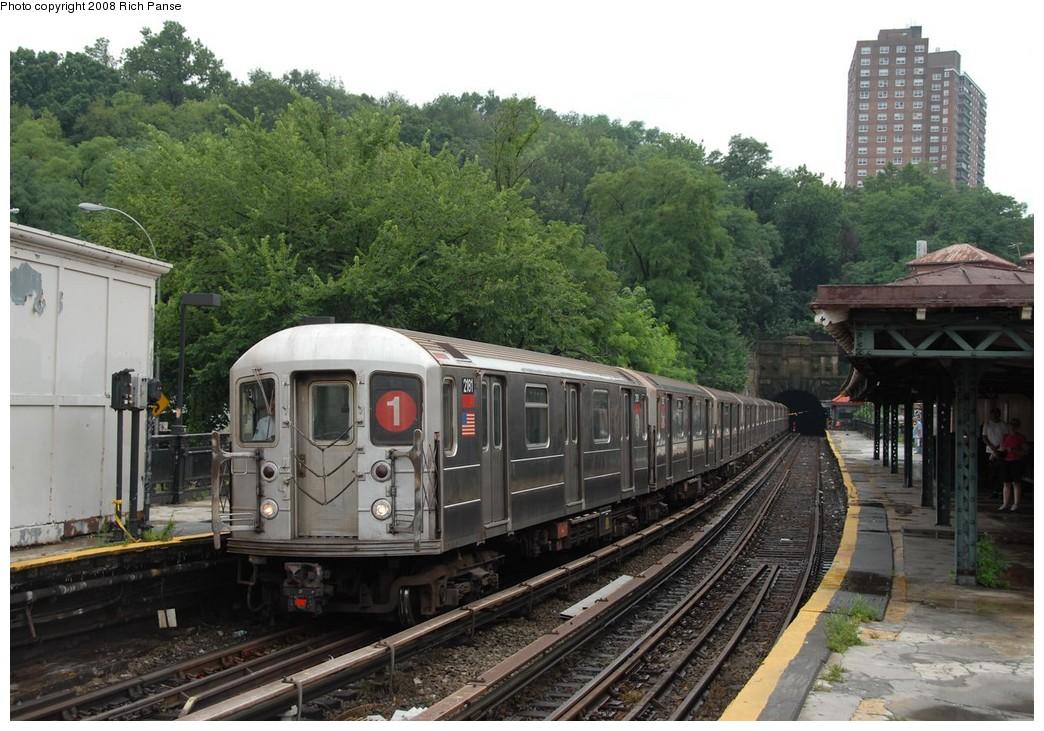 (225k, 1044x731)<br><b>Country:</b> United States<br><b>City:</b> New York<br><b>System:</b> New York City Transit<br><b>Line:</b> IRT West Side Line<br><b>Location:</b> Dyckman Street <br><b>Route:</b> 1<br><b>Car:</b> R-62A (Bombardier, 1984-1987)  2161 <br><b>Photo by:</b> Richard Panse<br><b>Date:</b> 8/2/2008<br><b>Viewed (this week/total):</b> 0 / 1669