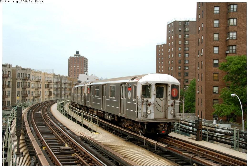 (195k, 1044x706)<br><b>Country:</b> United States<br><b>City:</b> New York<br><b>System:</b> New York City Transit<br><b>Line:</b> IRT West Side Line<br><b>Location:</b> Dyckman Street <br><b>Route:</b> 1<br><b>Car:</b> R-62A (Bombardier, 1984-1987)  2321 <br><b>Photo by:</b> Richard Panse<br><b>Date:</b> 8/2/2008<br><b>Viewed (this week/total):</b> 0 / 1416