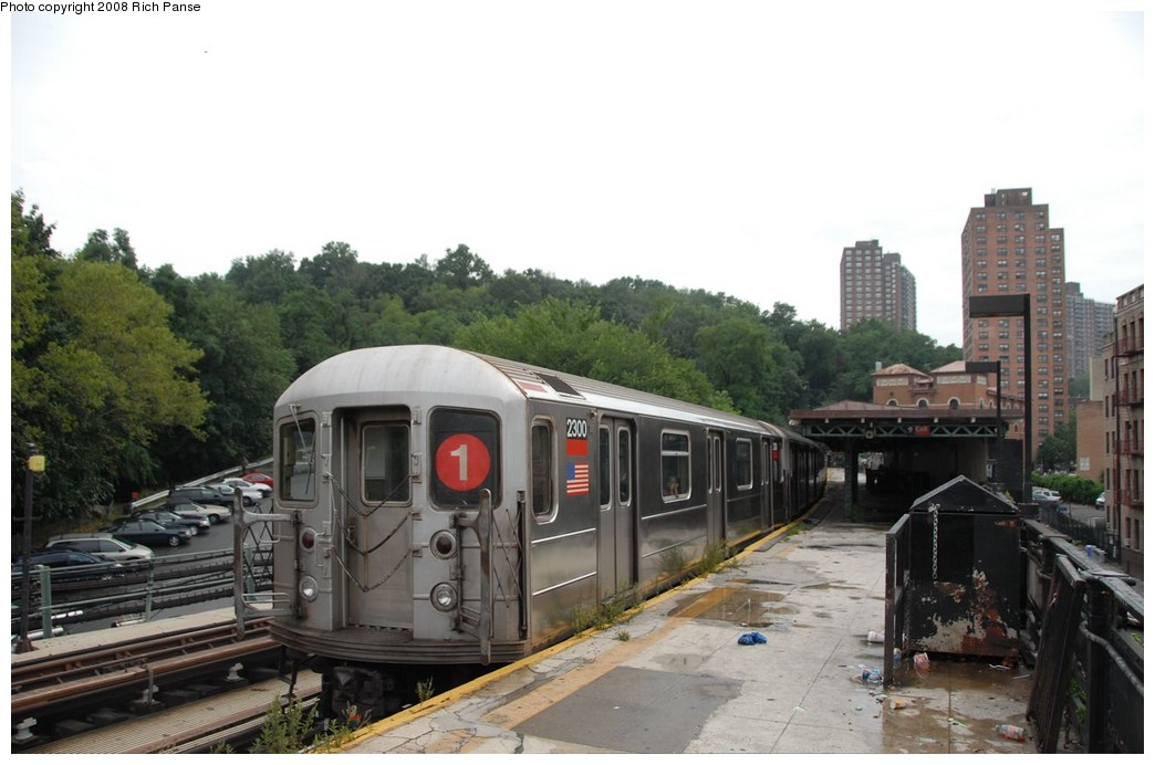 (156k, 1044x692)<br><b>Country:</b> United States<br><b>City:</b> New York<br><b>System:</b> New York City Transit<br><b>Line:</b> IRT West Side Line<br><b>Location:</b> Dyckman Street <br><b>Route:</b> 1<br><b>Car:</b> R-62A (Bombardier, 1984-1987)  2300 <br><b>Photo by:</b> Richard Panse<br><b>Date:</b> 8/2/2008<br><b>Viewed (this week/total):</b> 0 / 1263