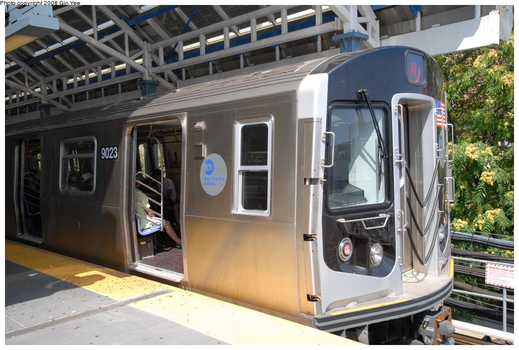 (260k, 1044x705)<br><b>Country:</b> United States<br><b>City:</b> New York<br><b>System:</b> New York City Transit<br><b>Location:</b> Coney Island/Stillwell Avenue<br><b>Route:</b> N<br><b>Car:</b> R-160B (Option 1) (Kawasaki, 2008-2009)  9023 <br><b>Photo by:</b> Gin Yee<br><b>Date:</b> 8/17/2008<br><b>Viewed (this week/total):</b> 1 / 2395