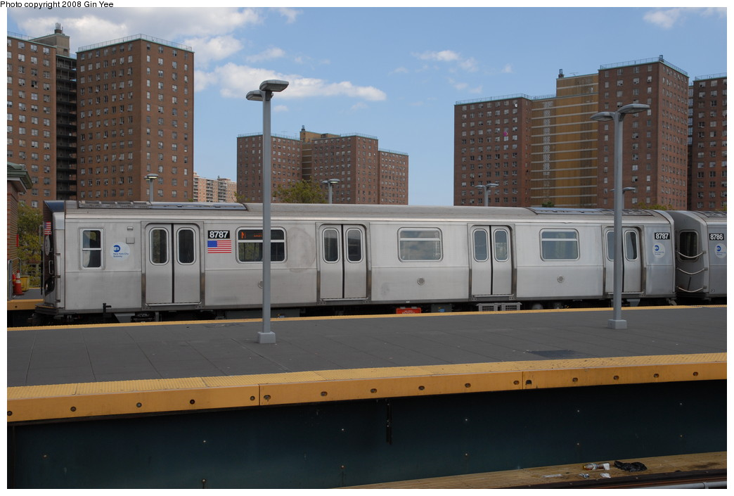 (192k, 1044x705)<br><b>Country:</b> United States<br><b>City:</b> New York<br><b>System:</b> New York City Transit<br><b>Location:</b> Coney Island/Stillwell Avenue<br><b>Route:</b> N<br><b>Car:</b> R-160B (Kawasaki, 2005-2008)  8787 <br><b>Photo by:</b> Gin Yee<br><b>Date:</b> 8/17/2008<br><b>Viewed (this week/total):</b> 0 / 1311