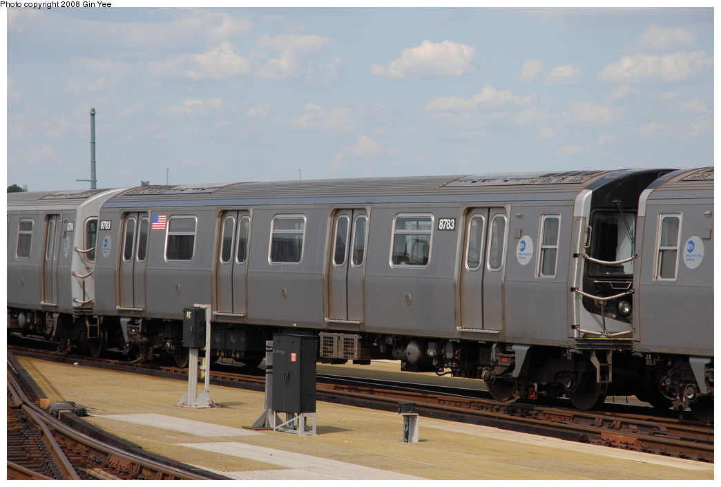 (185k, 1044x705)<br><b>Country:</b> United States<br><b>City:</b> New York<br><b>System:</b> New York City Transit<br><b>Location:</b> Coney Island/Stillwell Avenue<br><b>Route:</b> N<br><b>Car:</b> R-160B (Kawasaki, 2005-2008)  8783 <br><b>Photo by:</b> Gin Yee<br><b>Date:</b> 8/17/2008<br><b>Viewed (this week/total):</b> 2 / 1104