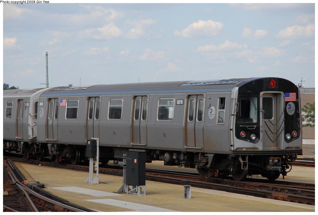 (182k, 1044x705)<br><b>Country:</b> United States<br><b>City:</b> New York<br><b>System:</b> New York City Transit<br><b>Location:</b> Coney Island/Stillwell Avenue<br><b>Route:</b> N<br><b>Car:</b> R-160B (Kawasaki, 2005-2008)  8818 <br><b>Photo by:</b> Gin Yee<br><b>Date:</b> 8/17/2008<br><b>Viewed (this week/total):</b> 0 / 1056