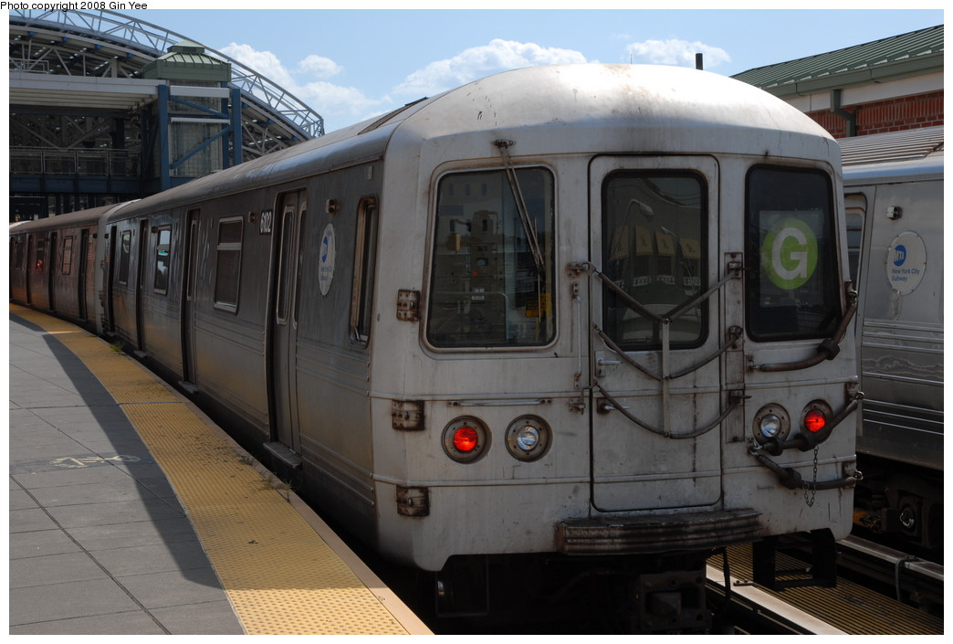 (205k, 1044x705)<br><b>Country:</b> United States<br><b>City:</b> New York<br><b>System:</b> New York City Transit<br><b>Location:</b> Coney Island/Stillwell Avenue<br><b>Route:</b> G<br><b>Car:</b> R-46 (Pullman-Standard, 1974-75) 6102 <br><b>Photo by:</b> Gin Yee<br><b>Date:</b> 8/17/2008<br><b>Viewed (this week/total):</b> 0 / 1100