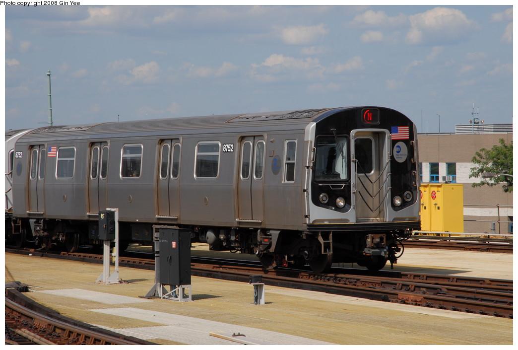 (199k, 1044x705)<br><b>Country:</b> United States<br><b>City:</b> New York<br><b>System:</b> New York City Transit<br><b>Location:</b> Coney Island/Stillwell Avenue<br><b>Route:</b> N<br><b>Car:</b> R-160B (Kawasaki, 2005-2008)  8752 <br><b>Photo by:</b> Gin Yee<br><b>Date:</b> 8/17/2008<br><b>Viewed (this week/total):</b> 0 / 1174