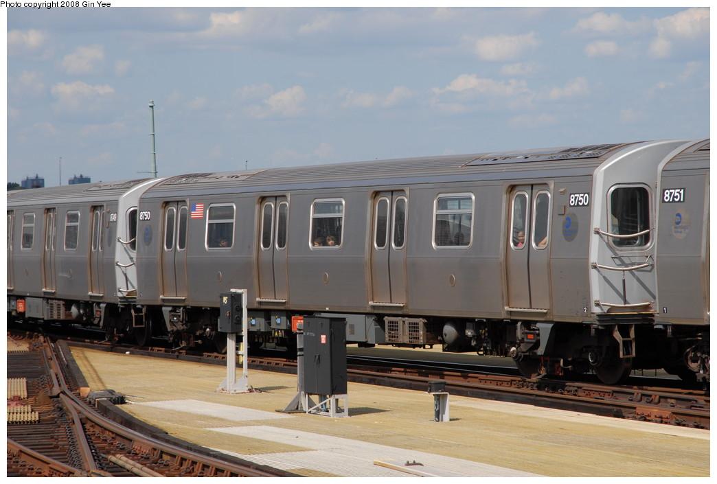 (198k, 1044x705)<br><b>Country:</b> United States<br><b>City:</b> New York<br><b>System:</b> New York City Transit<br><b>Location:</b> Coney Island/Stillwell Avenue<br><b>Route:</b> N<br><b>Car:</b> R-160B (Kawasaki, 2005-2008)  8750 <br><b>Photo by:</b> Gin Yee<br><b>Date:</b> 8/17/2008<br><b>Viewed (this week/total):</b> 0 / 1355