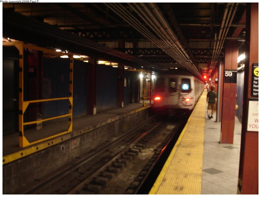 (169k, 1044x788)<br><b>Country:</b> United States<br><b>City:</b> New York<br><b>System:</b> New York City Transit<br><b>Line:</b> IND 8th Avenue Line<br><b>Location:</b> 59th Street/Columbus Circle <br><b>Route:</b> A<br><b>Car:</b> R-44 (St. Louis, 1971-73)  <br><b>Photo by:</b> Paul P.<br><b>Date:</b> 7/5/2008<br><b>Viewed (this week/total):</b> 1 / 2679