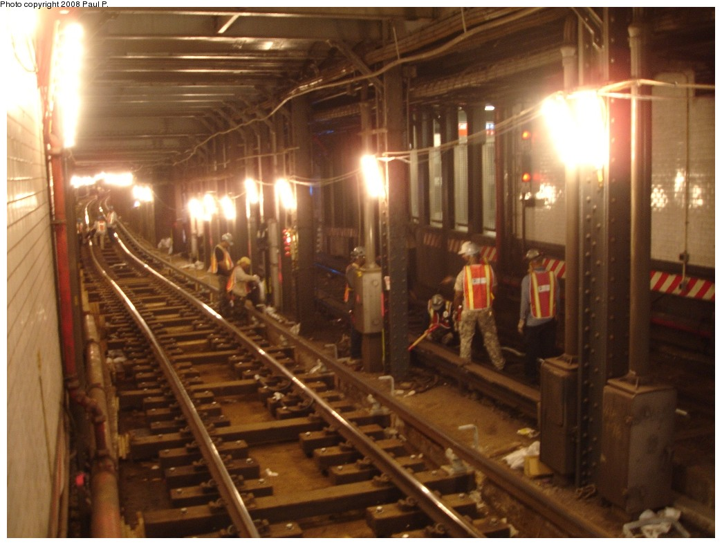 (176k, 1044x788)<br><b>Country:</b> United States<br><b>City:</b> New York<br><b>System:</b> New York City Transit<br><b>Line:</b> BMT Broadway Line<br><b>Location:</b> Times Square/42nd Street <br><b>Photo by:</b> Paul P.<br><b>Date:</b> 6/28/2008<br><b>Notes:</b> Track maintenance work on express and local tracks.<br><b>Viewed (this week/total):</b> 0 / 3110