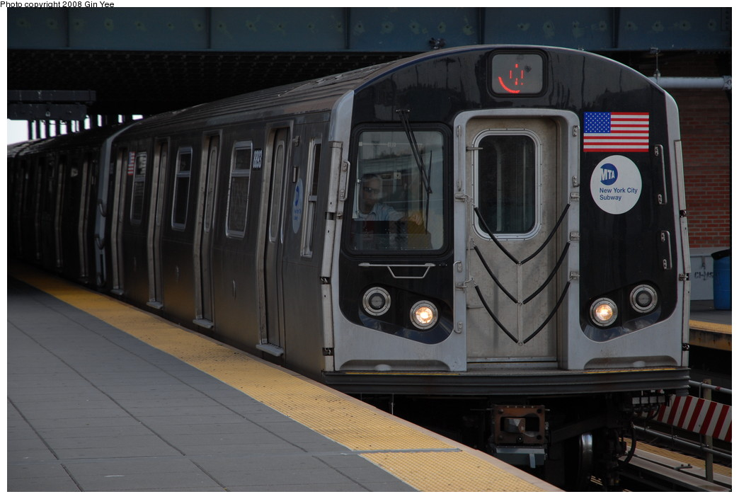 (188k, 1044x705)<br><b>Country:</b> United States<br><b>City:</b> New York<br><b>System:</b> New York City Transit<br><b>Location:</b> Coney Island/Stillwell Avenue<br><b>Route:</b> Q<br><b>Car:</b> R-160B (Kawasaki, 2005-2008)  8893 <br><b>Photo by:</b> Gin Yee<br><b>Date:</b> 8/17/2008<br><b>Viewed (this week/total):</b> 0 / 1399