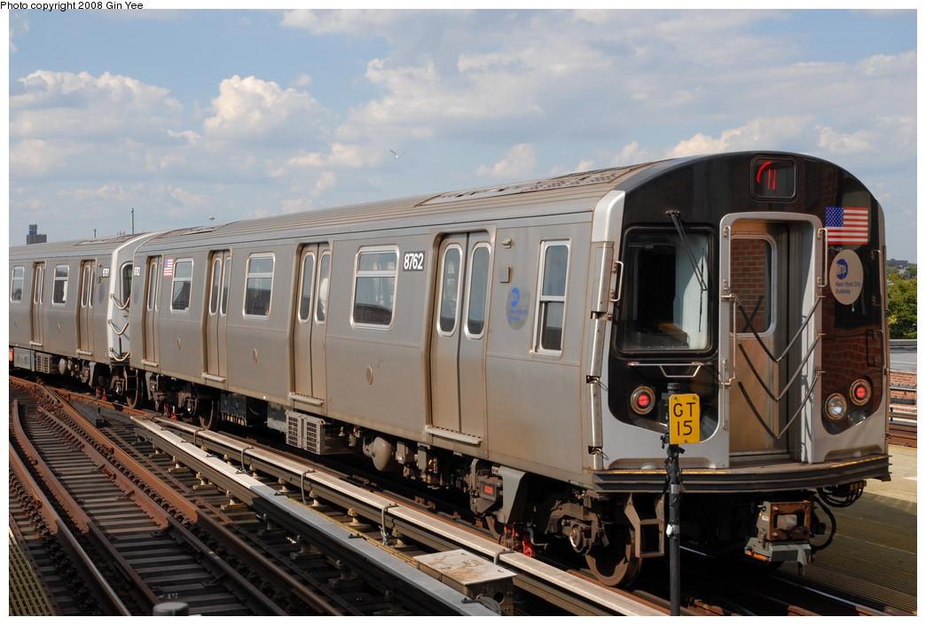 (227k, 1044x705)<br><b>Country:</b> United States<br><b>City:</b> New York<br><b>System:</b> New York City Transit<br><b>Location:</b> Coney Island/Stillwell Avenue<br><b>Route:</b> N<br><b>Car:</b> R-160B (Kawasaki, 2005-2008)  8762 <br><b>Photo by:</b> Gin Yee<br><b>Date:</b> 8/17/2008<br><b>Viewed (this week/total):</b> 0 / 1187