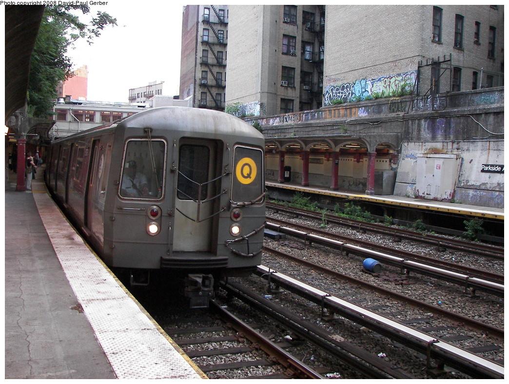 (350k, 1044x788)<br><b>Country:</b> United States<br><b>City:</b> New York<br><b>System:</b> New York City Transit<br><b>Line:</b> BMT Brighton Line<br><b>Location:</b> Parkside Avenue <br><b>Route:</b> Q<br><b>Car:</b> R-68/R-68A Series (Number Unknown)  <br><b>Photo by:</b> David-Paul Gerber<br><b>Date:</b> 6/27/2008<br><b>Viewed (this week/total):</b> 3 / 1430