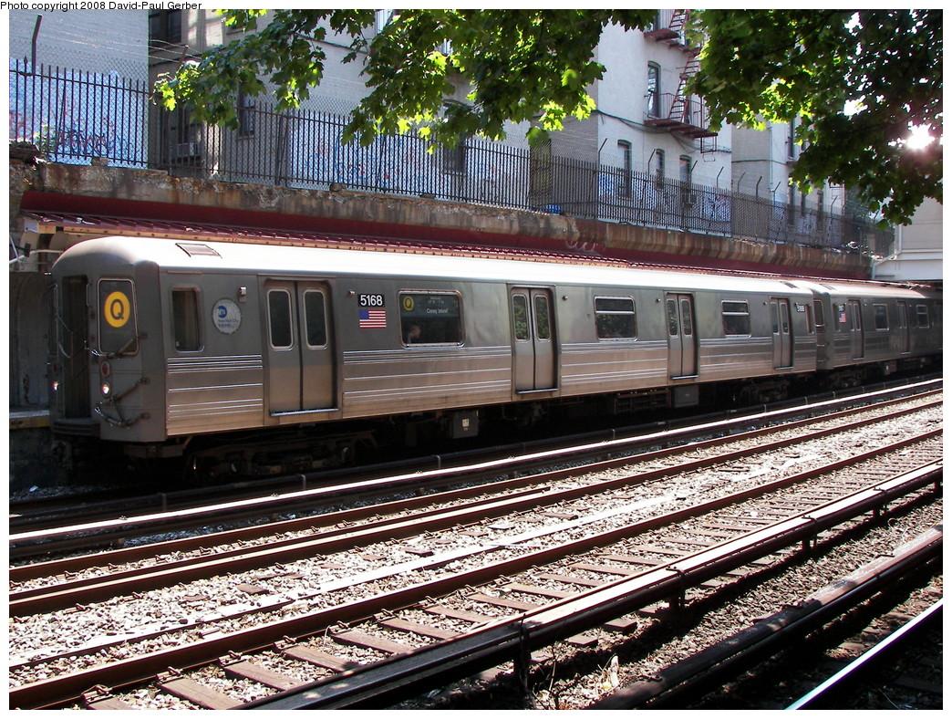 (421k, 1044x788)<br><b>Country:</b> United States<br><b>City:</b> New York<br><b>System:</b> New York City Transit<br><b>Line:</b> BMT Brighton Line<br><b>Location:</b> Beverley Road <br><b>Route:</b> Q<br><b>Car:</b> R-68A (Kawasaki, 1988-1989)  5168 <br><b>Photo by:</b> David-Paul Gerber<br><b>Date:</b> 8/18/2008<br><b>Viewed (this week/total):</b> 3 / 1510