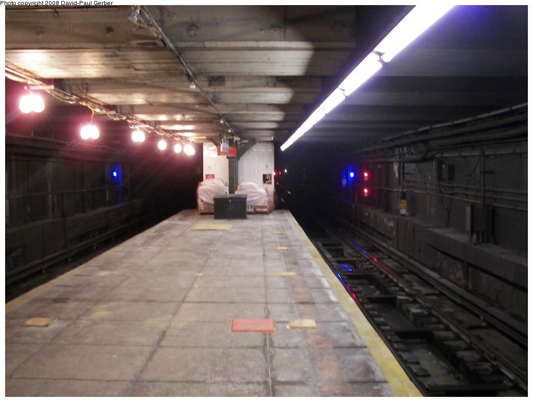 (228k, 1044x788)<br><b>Country:</b> United States<br><b>City:</b> New York<br><b>System:</b> New York City Transit<br><b>Line:</b> BMT Broadway Line<br><b>Location:</b> Jay St./Metrotech (Lawrence St.) <br><b>Photo by:</b> David-Paul Gerber<br><b>Date:</b> 7/2/2008<br><b>Notes:</b> Platform construction where transfer to Jay St. will be built.<br><b>Viewed (this week/total):</b> 4 / 3286