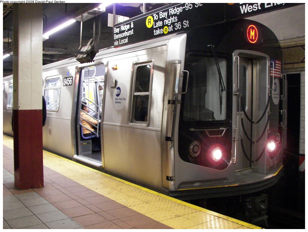 (284k, 1044x788)<br><b>Country:</b> United States<br><b>City:</b> New York<br><b>System:</b> New York City Transit<br><b>Location:</b> DeKalb Avenue<br><b>Route:</b> M<br><b>Car:</b> R-160A-1 (Alstom, 2005-2008, 4 car sets)  8456 <br><b>Photo by:</b> David-Paul Gerber<br><b>Date:</b> 6/4/2008<br><b>Viewed (this week/total):</b> 0 / 3211