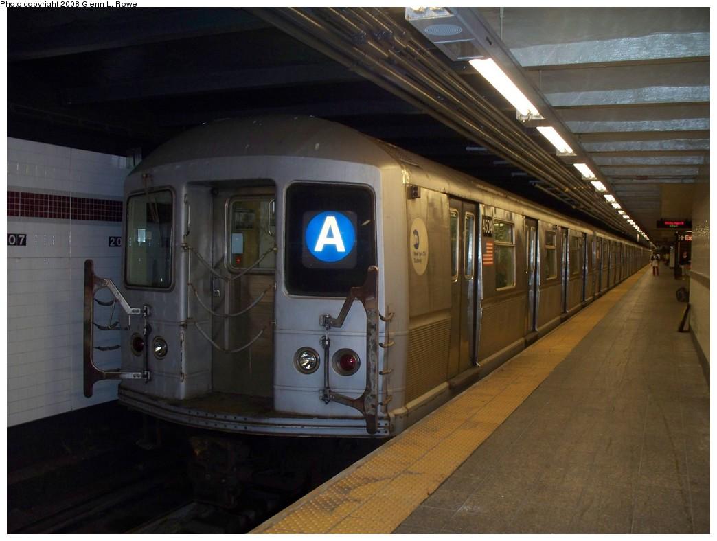 (179k, 1044x788)<br><b>Country:</b> United States<br><b>City:</b> New York<br><b>System:</b> New York City Transit<br><b>Line:</b> IND 8th Avenue Line<br><b>Location:</b> 207th Street <br><b>Route:</b> A<br><b>Car:</b> R-40M (St. Louis, 1969)  4504 <br><b>Photo by:</b> Glenn L. Rowe<br><b>Date:</b> 8/18/2008<br><b>Viewed (this week/total):</b> 0 / 1210