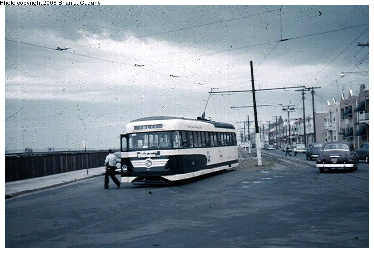 (119k, 765x518)<br><b>Country:</b> United States<br><b>City:</b> Atlantic City, NJ<br><b>System:</b> Atlantic City Transit<br><b>Car:</b> Atlantic City Brilliner (J.G. Brill, 1940)  <br><b>Photo by:</b> Brian J. Cudahy<br><b>Date:</b> 8/3/1954<br><b>Notes:</b> Inlet-bound Brilliner.<br><b>Viewed (this week/total):</b> 8 / 2080