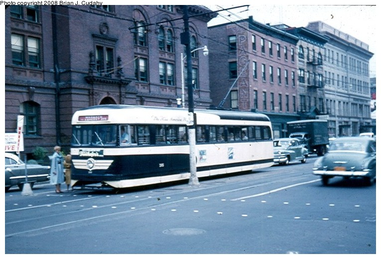 (131k, 765x521)<br><b>Country:</b> United States<br><b>City:</b> Atlantic City, NJ<br><b>System:</b> Atlantic City Transit<br><b>Car:</b> Atlantic City Brilliner (J.G. Brill, 1940)  <br><b>Photo by:</b> Brian J. Cudahy<br><b>Date:</b> 8/3/1954<br><b>Notes:</b> Margate-bound Brilliner on Atlantic Avenue.<br><b>Viewed (this week/total):</b> 4 / 2515