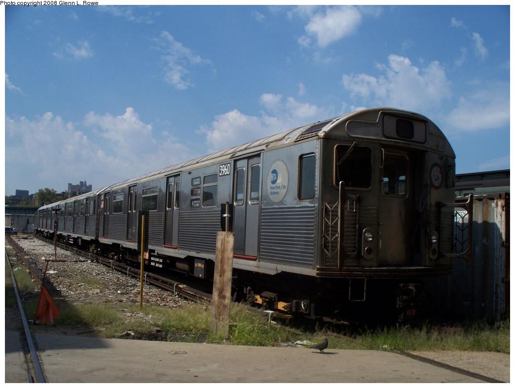 (187k, 1044x788)<br><b>Country:</b> United States<br><b>City:</b> New York<br><b>System:</b> New York City Transit<br><b>Location:</b> 207th Street Yard<br><b>Car:</b> R-38 (St. Louis, 1966-1967)  3960 <br><b>Photo by:</b> Glenn L. Rowe<br><b>Date:</b> 8/19/2008<br><b>Viewed (this week/total):</b> 0 / 1122