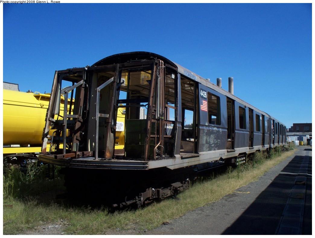 (204k, 1044x788)<br><b>Country:</b> United States<br><b>City:</b> New York<br><b>System:</b> New York City Transit<br><b>Location:</b> 207th Street Yard<br><b>Car:</b> R-40 (St. Louis, 1968)  4426 <br><b>Photo by:</b> Glenn L. Rowe<br><b>Date:</b> 8/20/2008<br><b>Notes:</b> Scrap<br><b>Viewed (this week/total):</b> 1 / 1696