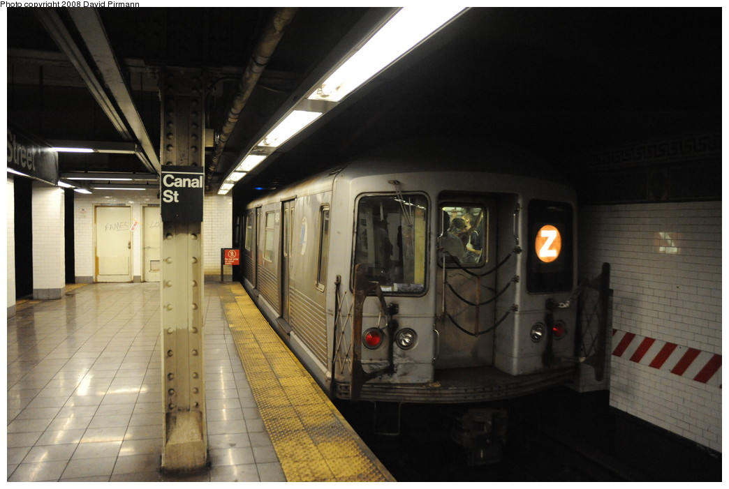 (219k, 1044x701)<br><b>Country:</b> United States<br><b>City:</b> New York<br><b>System:</b> New York City Transit<br><b>Line:</b> BMT Nassau Street/Jamaica Line<br><b>Location:</b> Canal Street <br><b>Route:</b> Z<br><b>Car:</b> R-42 (St. Louis, 1969-1970)  4834 <br><b>Photo by:</b> David Pirmann<br><b>Date:</b> 8/21/2008<br><b>Viewed (this week/total):</b> 3 / 2016