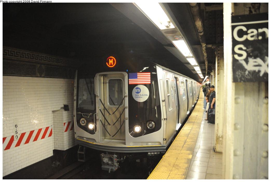 (235k, 1044x701)<br><b>Country:</b> United States<br><b>City:</b> New York<br><b>System:</b> New York City Transit<br><b>Line:</b> BMT Nassau Street/Jamaica Line<br><b>Location:</b> Canal Street <br><b>Route:</b> M<br><b>Car:</b> R-160A-1 (Alstom, 2005-2008, 4 car sets)  8613 <br><b>Photo by:</b> David Pirmann<br><b>Date:</b> 8/21/2008<br><b>Viewed (this week/total):</b> 1 / 2567