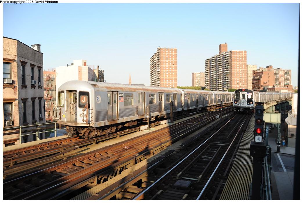 (282k, 1044x701)<br><b>Country:</b> United States<br><b>City:</b> New York<br><b>System:</b> New York City Transit<br><b>Line:</b> BMT Nassau Street/Jamaica Line<br><b>Location:</b> Hewes Street <br><b>Route:</b> J<br><b>Car:</b> R-42 (St. Louis, 1969-1970)  4831 <br><b>Photo by:</b> David Pirmann<br><b>Date:</b> 8/21/2008<br><b>Viewed (this week/total):</b> 1 / 1150