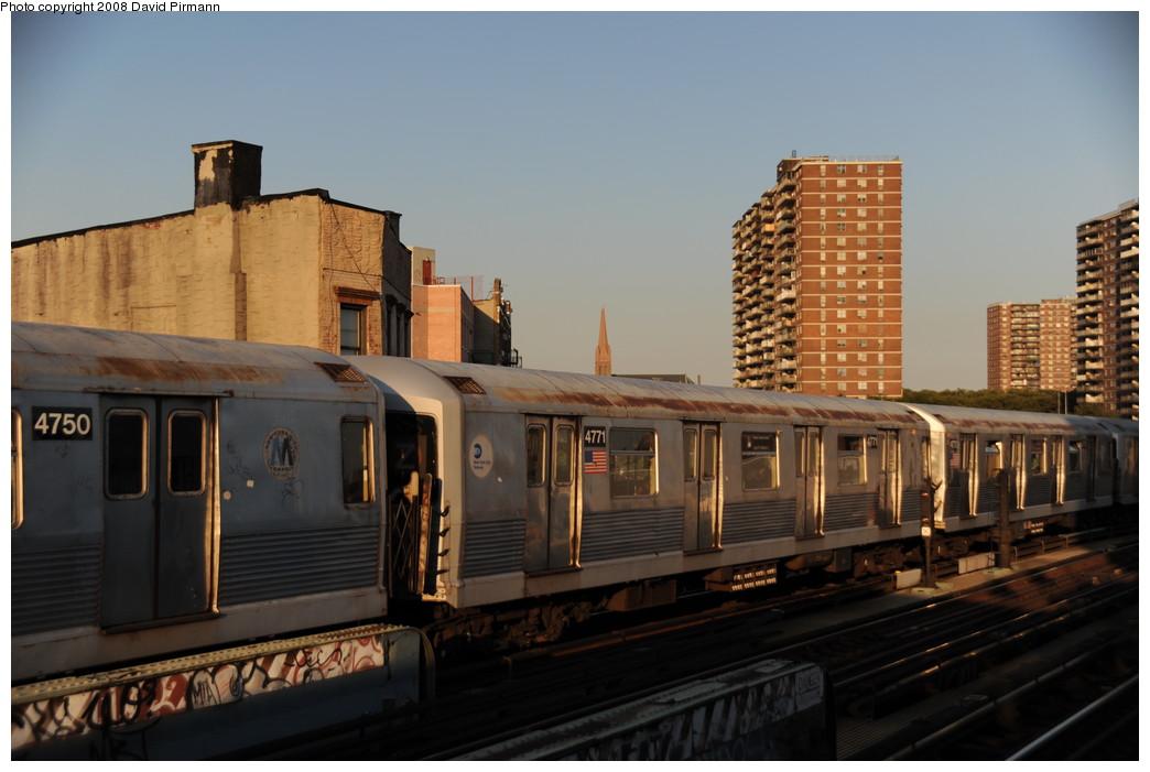 (217k, 1044x701)<br><b>Country:</b> United States<br><b>City:</b> New York<br><b>System:</b> New York City Transit<br><b>Line:</b> BMT Nassau Street-Jamaica Line<br><b>Location:</b> Hewes Street<br><b>Route:</b> J<br><b>Car:</b> R-42 (St. Louis, 1969-1970) 4771 <br><b>Photo by:</b> David Pirmann<br><b>Date:</b> 8/21/2008<br><b>Viewed (this week/total):</b> 0 / 1011