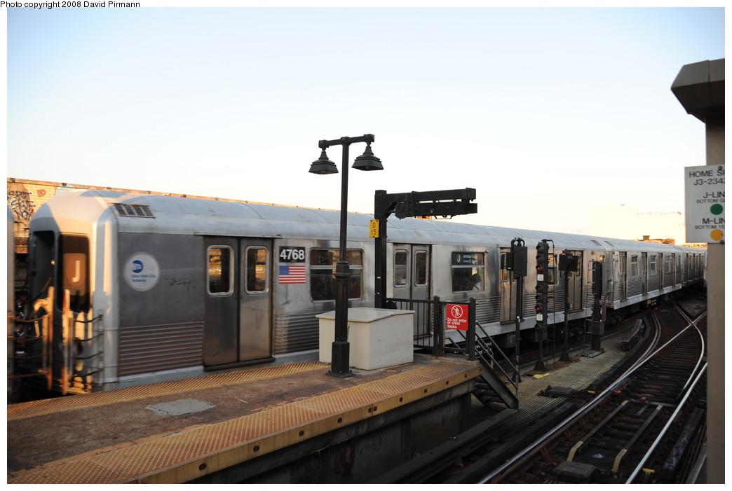 (209k, 1044x701)<br><b>Country:</b> United States<br><b>City:</b> New York<br><b>System:</b> New York City Transit<br><b>Line:</b> BMT Nassau Street/Jamaica Line<br><b>Location:</b> Myrtle Avenue <br><b>Route:</b> J<br><b>Car:</b> R-42 (St. Louis, 1969-1970)  4768 <br><b>Photo by:</b> David Pirmann<br><b>Date:</b> 8/21/2008<br><b>Viewed (this week/total):</b> 0 / 1556