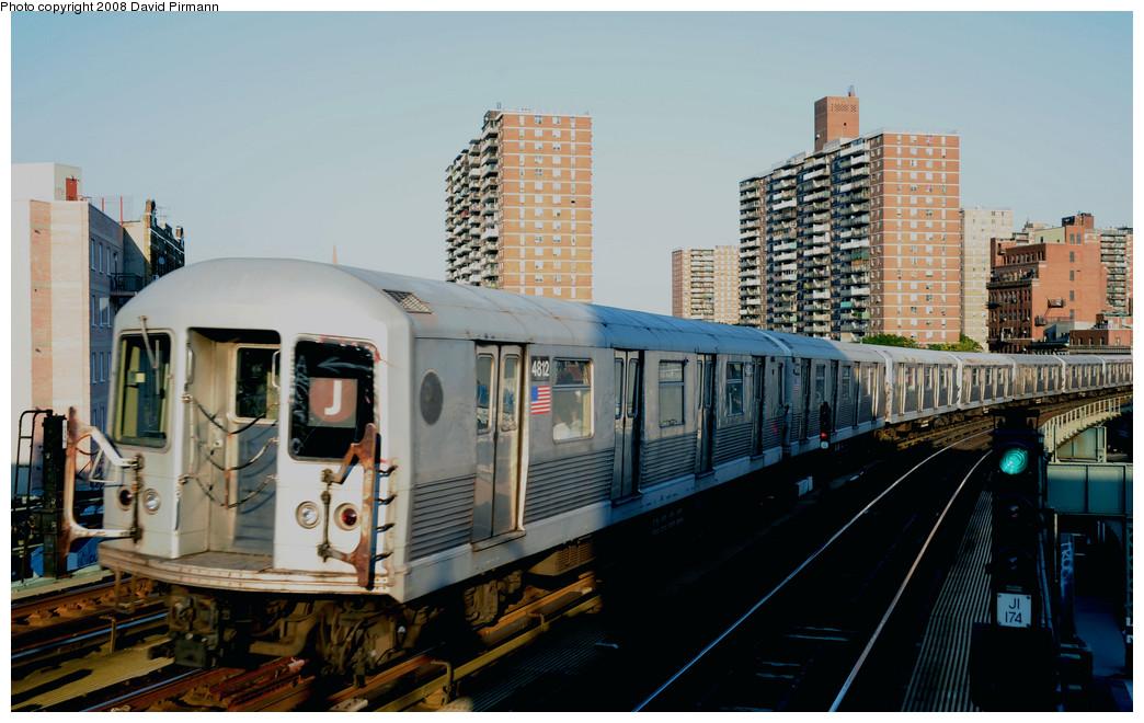 (255k, 1044x660)<br><b>Country:</b> United States<br><b>City:</b> New York<br><b>System:</b> New York City Transit<br><b>Line:</b> BMT Nassau Street/Jamaica Line<br><b>Location:</b> Hewes Street <br><b>Route:</b> J<br><b>Car:</b> R-42 (St. Louis, 1969-1970)  4812 <br><b>Photo by:</b> David Pirmann<br><b>Date:</b> 8/21/2008<br><b>Viewed (this week/total):</b> 0 / 1125