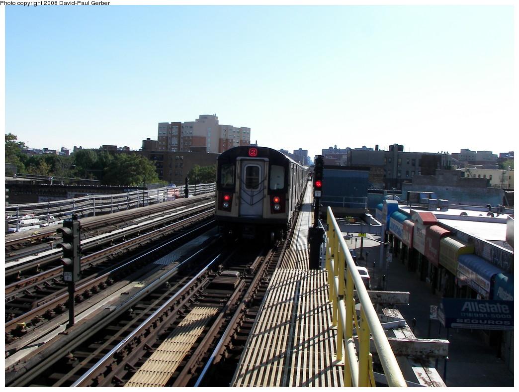 (279k, 1044x788)<br><b>Country:</b> United States<br><b>City:</b> New York<br><b>System:</b> New York City Transit<br><b>Line:</b> IRT White Plains Road Line<br><b>Location:</b> Simpson Street <br><b>Route:</b> 2<br><b>Car:</b> R-142 or R-142A (Number Unknown)  <br><b>Photo by:</b> David-Paul Gerber<br><b>Date:</b> 8/19/2008<br><b>Viewed (this week/total):</b> 0 / 1584