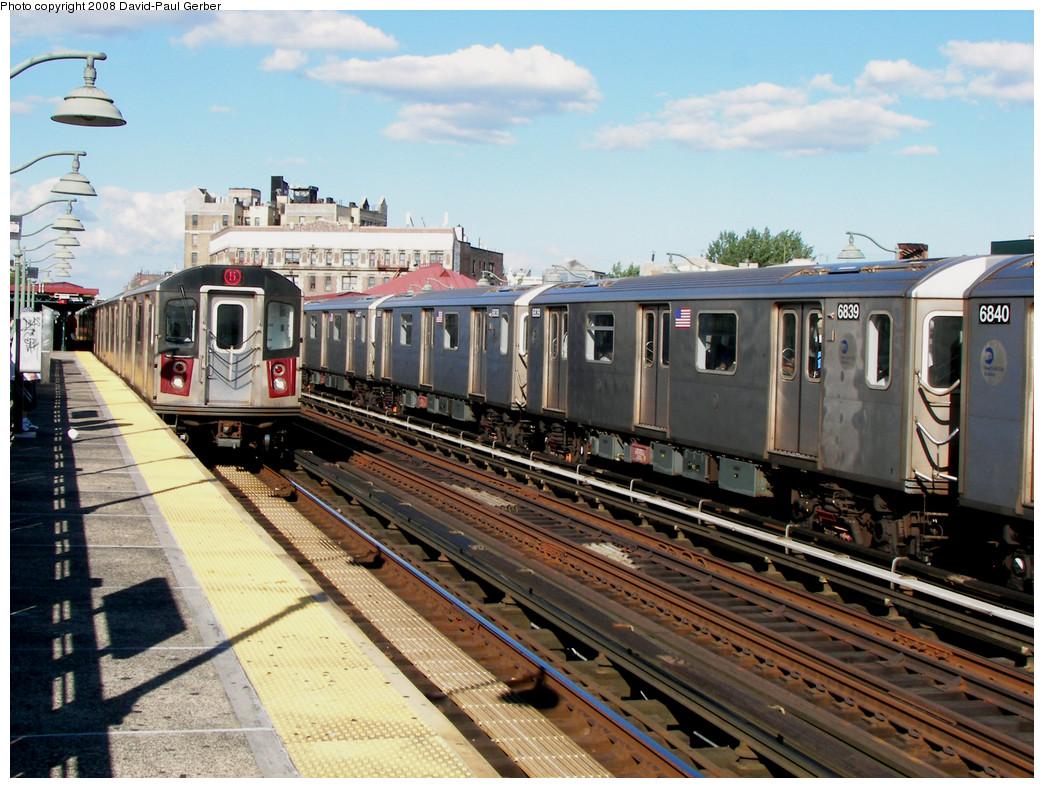 (313k, 1044x788)<br><b>Country:</b> United States<br><b>City:</b> New York<br><b>System:</b> New York City Transit<br><b>Line:</b> IRT White Plains Road Line<br><b>Location:</b> Simpson Street <br><b>Route:</b> 2<br><b>Car:</b> R-142 (Primary Order, Bombardier, 1999-2002)  6839 <br><b>Photo by:</b> David-Paul Gerber<br><b>Date:</b> 8/19/2008<br><b>Viewed (this week/total):</b> 0 / 1802