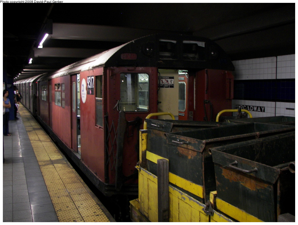(229k, 1044x788)<br><b>Country:</b> United States<br><b>City:</b> New York<br><b>System:</b> New York City Transit<br><b>Line:</b> IND 6th Avenue Line<br><b>Location:</b> Broadway/Lafayette <br><b>Route:</b> Work Service<br><b>Car:</b> R-33 World's Fair (St. Louis, 1963-64) 9317 <br><b>Photo by:</b> David-Paul Gerber<br><b>Date:</b> 8/20/2008<br><b>Notes:</b> Garbage train.<br><b>Viewed (this week/total):</b> 0 / 1440