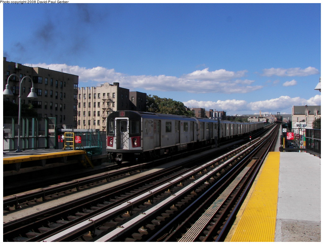(265k, 1044x788)<br><b>Country:</b> United States<br><b>City:</b> New York<br><b>System:</b> New York City Transit<br><b>Line:</b> IRT Woodlawn Line<br><b>Location:</b> 183rd Street <br><b>Route:</b> 4<br><b>Car:</b> R-142A (Option Order, Kawasaki, 2002-2003)  7661 <br><b>Photo by:</b> David-Paul Gerber<br><b>Date:</b> 8/19/2008<br><b>Viewed (this week/total):</b> 1 / 1552