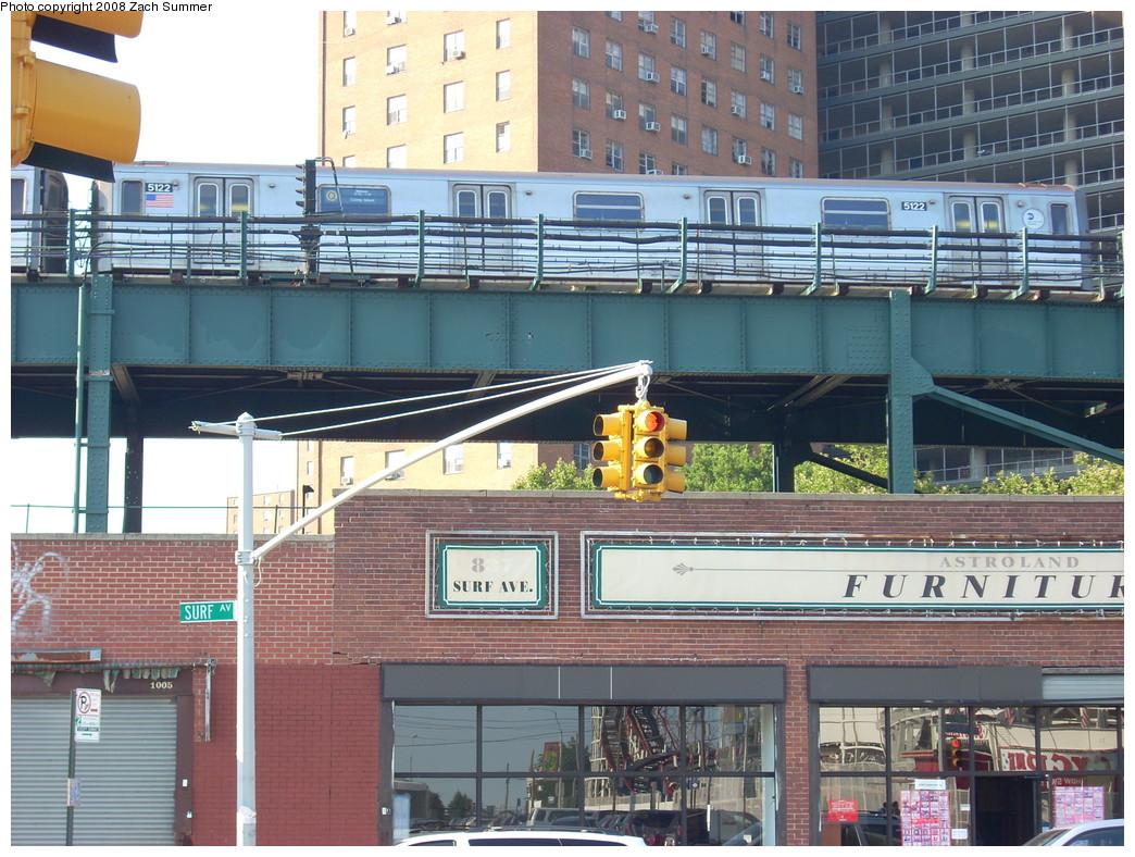 (306k, 1044x788)<br><b>Country:</b> United States<br><b>City:</b> New York<br><b>System:</b> New York City Transit<br><b>Line:</b> BMT Brighton Line<br><b>Location:</b> West 8th Street <br><b>Route:</b> Q<br><b>Car:</b> R-68A (Kawasaki, 1988-1989)  5122 <br><b>Photo by:</b> Zach Summer<br><b>Date:</b> 7/15/2008<br><b>Viewed (this week/total):</b> 0 / 1571