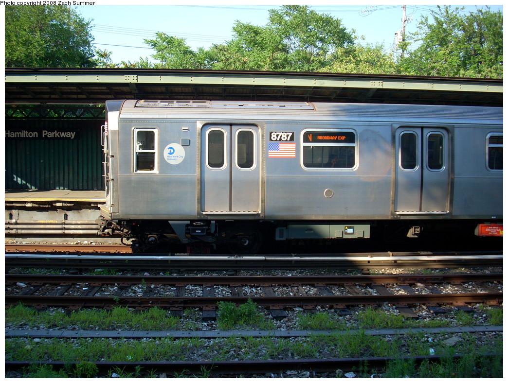 (324k, 1044x788)<br><b>Country:</b> United States<br><b>City:</b> New York<br><b>System:</b> New York City Transit<br><b>Line:</b> BMT Sea Beach Line<br><b>Location:</b> Fort Hamilton Parkway <br><b>Route:</b> N<br><b>Car:</b> R-160B (Kawasaki, 2005-2008)  8787 <br><b>Photo by:</b> Zach Summer<br><b>Date:</b> 7/16/2008<br><b>Viewed (this week/total):</b> 0 / 1706