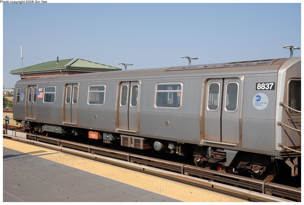 (197k, 1044x705)<br><b>Country:</b> United States<br><b>City:</b> New York<br><b>System:</b> New York City Transit<br><b>Location:</b> Coney Island/Stillwell Avenue<br><b>Route:</b> N<br><b>Car:</b> R-160B (Kawasaki, 2005-2008)  8837 <br><b>Photo by:</b> Gin Yee<br><b>Date:</b> 8/24/2008<br><b>Viewed (this week/total):</b> 0 / 1115