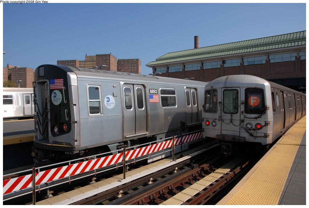(233k, 1044x705)<br><b>Country:</b> United States<br><b>City:</b> New York<br><b>System:</b> New York City Transit<br><b>Location:</b> Coney Island/Stillwell Avenue<br><b>Route:</b> Q<br><b>Car:</b> R-160B (Kawasaki, 2005-2008)  8893 <br><b>Photo by:</b> Gin Yee<br><b>Date:</b> 8/24/2008<br><b>Viewed (this week/total):</b> 2 / 1774