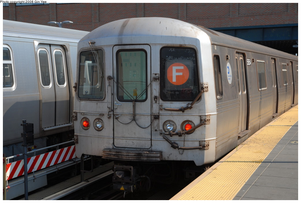 (224k, 1044x705)<br><b>Country:</b> United States<br><b>City:</b> New York<br><b>System:</b> New York City Transit<br><b>Location:</b> Coney Island/Stillwell Avenue<br><b>Route:</b> F<br><b>Car:</b> R-46 (Pullman-Standard, 1974-75) 5854 <br><b>Photo by:</b> Gin Yee<br><b>Date:</b> 8/24/2008<br><b>Viewed (this week/total):</b> 0 / 1274