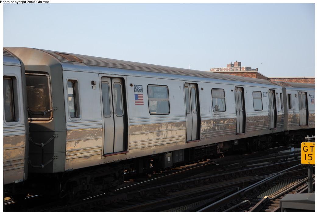 (179k, 1044x705)<br><b>Country:</b> United States<br><b>City:</b> New York<br><b>System:</b> New York City Transit<br><b>Location:</b> Coney Island/Stillwell Avenue<br><b>Route:</b> D<br><b>Car:</b> R-68 (Westinghouse-Amrail, 1986-1988)  2685 <br><b>Photo by:</b> Gin Yee<br><b>Date:</b> 8/24/2008<br><b>Viewed (this week/total):</b> 0 / 1349