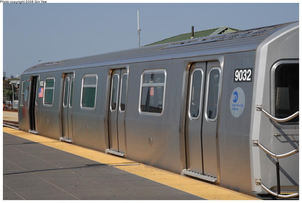 (175k, 1044x705)<br><b>Country:</b> United States<br><b>City:</b> New York<br><b>System:</b> New York City Transit<br><b>Location:</b> Coney Island/Stillwell Avenue<br><b>Route:</b> Q<br><b>Car:</b> R-160B (Option 1) (Kawasaki, 2008-2009)  9032 <br><b>Photo by:</b> Gin Yee<br><b>Date:</b> 8/24/2008<br><b>Viewed (this week/total):</b> 1 / 1479