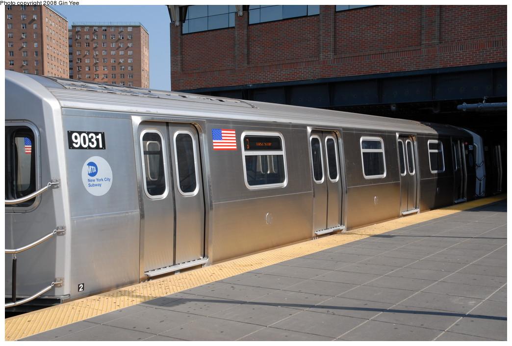 (217k, 1044x705)<br><b>Country:</b> United States<br><b>City:</b> New York<br><b>System:</b> New York City Transit<br><b>Location:</b> Coney Island/Stillwell Avenue<br><b>Route:</b> Q<br><b>Car:</b> R-160B (Option 1) (Kawasaki, 2008-2009)  9031 <br><b>Photo by:</b> Gin Yee<br><b>Date:</b> 8/24/2008<br><b>Viewed (this week/total):</b> 0 / 2384
