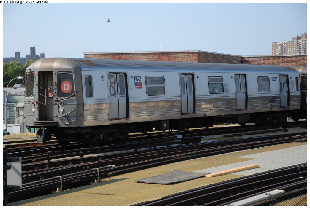 (211k, 1044x705)<br><b>Country:</b> United States<br><b>City:</b> New York<br><b>System:</b> New York City Transit<br><b>Location:</b> Coney Island/Stillwell Avenue<br><b>Route:</b> D<br><b>Car:</b> R-68 (Westinghouse-Amrail, 1986-1988)  2766 <br><b>Photo by:</b> Gin Yee<br><b>Date:</b> 8/24/2008<br><b>Viewed (this week/total):</b> 0 / 1412