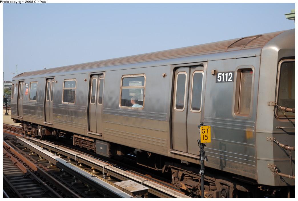 (200k, 1044x705)<br><b>Country:</b> United States<br><b>City:</b> New York<br><b>System:</b> New York City Transit<br><b>Location:</b> Coney Island/Stillwell Avenue<br><b>Route:</b> N<br><b>Car:</b> R-68A (Kawasaki, 1988-1989)  5112 <br><b>Photo by:</b> Gin Yee<br><b>Date:</b> 8/24/2008<br><b>Viewed (this week/total):</b> 0 / 1376