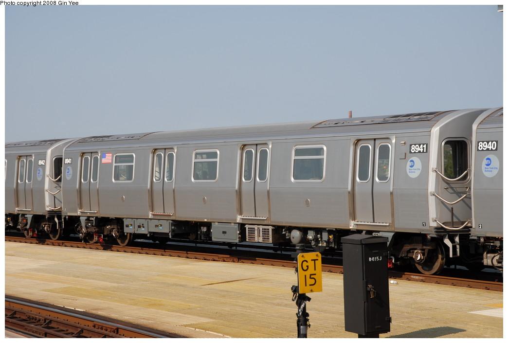 (181k, 1044x705)<br><b>Country:</b> United States<br><b>City:</b> New York<br><b>System:</b> New York City Transit<br><b>Location:</b> Coney Island/Stillwell Avenue<br><b>Route:</b> N<br><b>Car:</b> R-160B (Kawasaki, 2005-2008)  8941 <br><b>Photo by:</b> Gin Yee<br><b>Date:</b> 8/24/2008<br><b>Viewed (this week/total):</b> 1 / 1049
