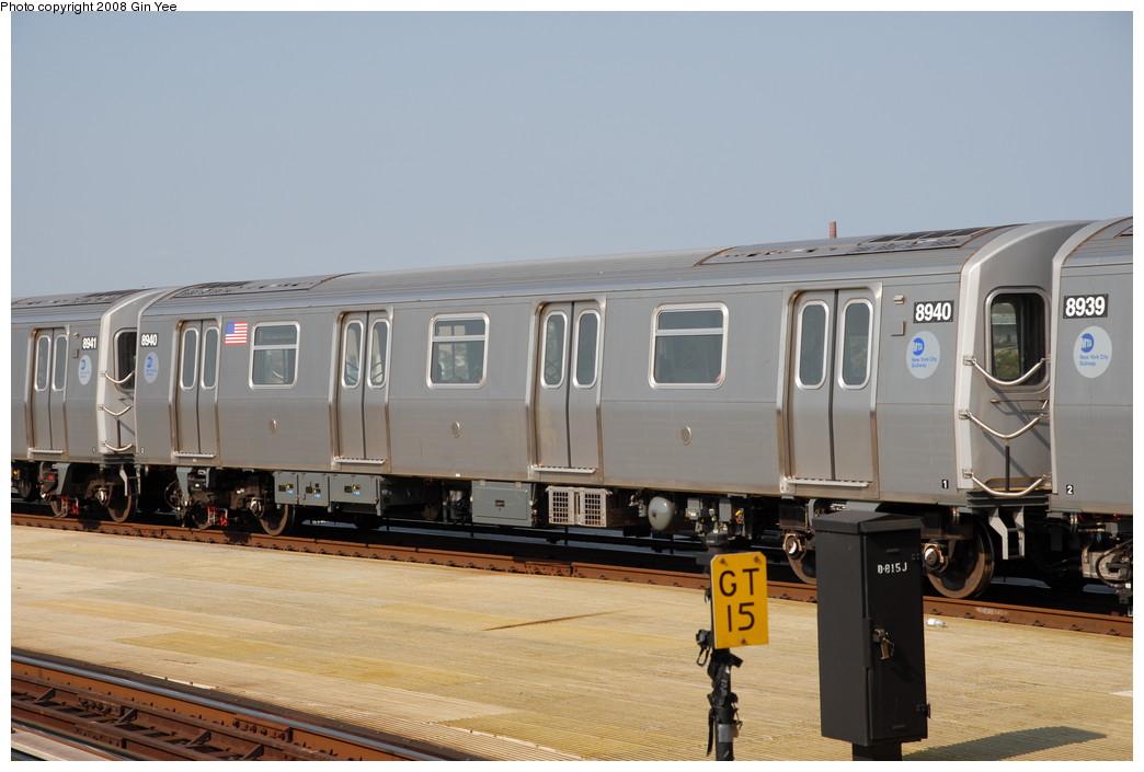 (188k, 1044x705)<br><b>Country:</b> United States<br><b>City:</b> New York<br><b>System:</b> New York City Transit<br><b>Location:</b> Coney Island/Stillwell Avenue<br><b>Route:</b> N<br><b>Car:</b> R-160B (Kawasaki, 2005-2008)  8940 <br><b>Photo by:</b> Gin Yee<br><b>Date:</b> 8/24/2008<br><b>Viewed (this week/total):</b> 1 / 1486